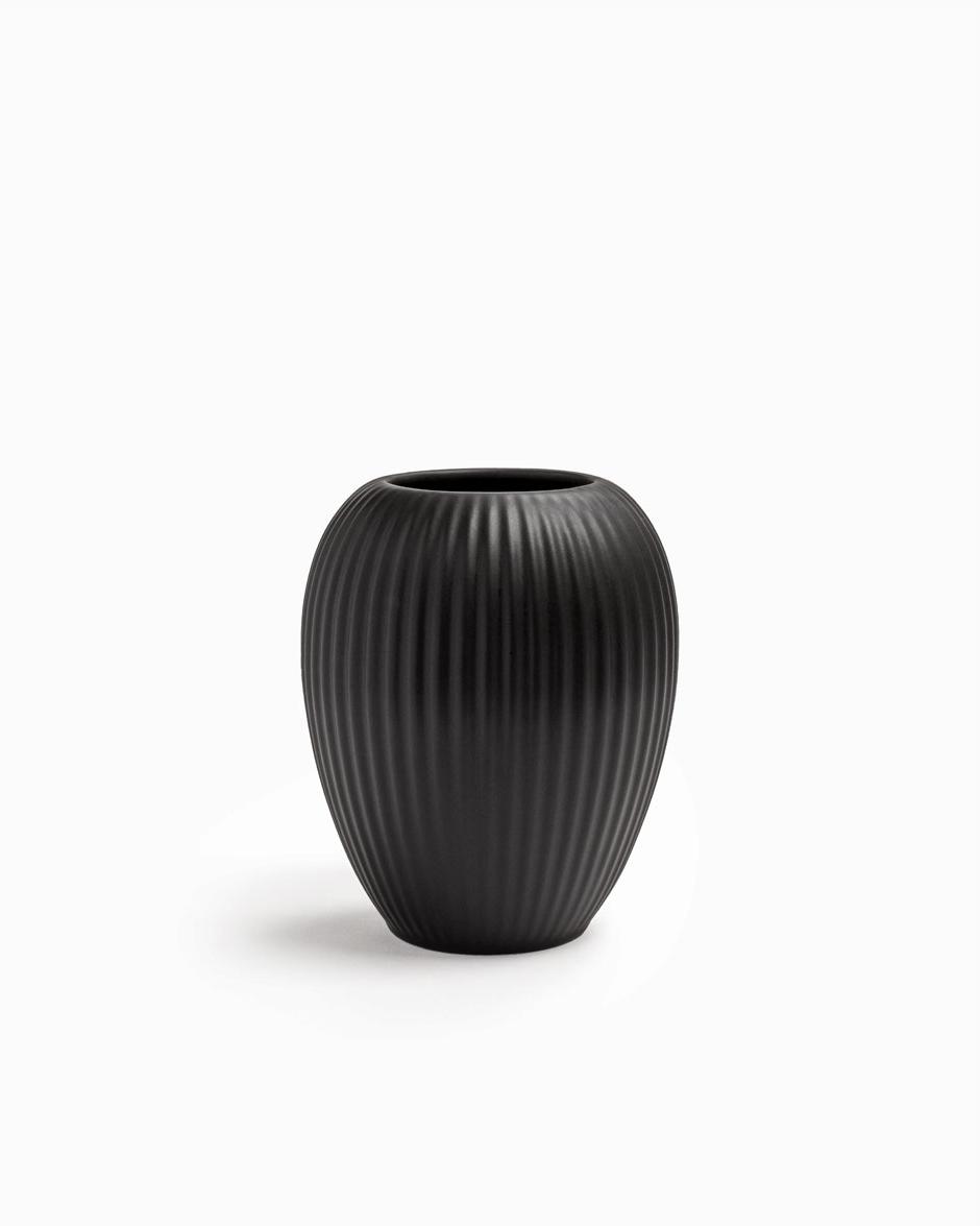 Sort 12 CM Michael Andersen Keramik Riflet Vase Model 4767 i Stentøj