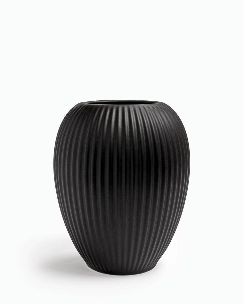 Sort 18 CM Michael Andersen Keramik Riflet Vase Model 4767 i Stentøj
