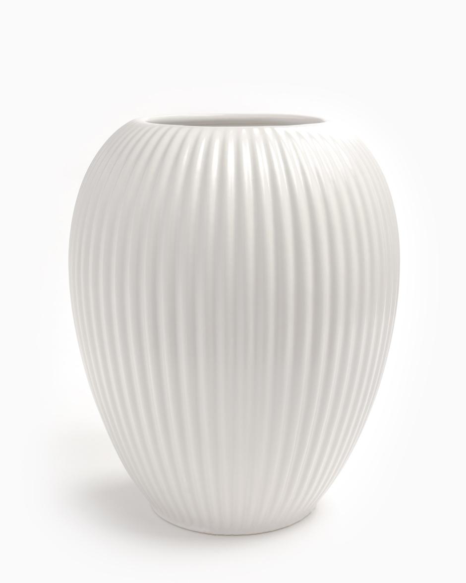 Hvid 23 CM Michael Andersen Keramik Riflet Vase Model 4767 i Stentøj