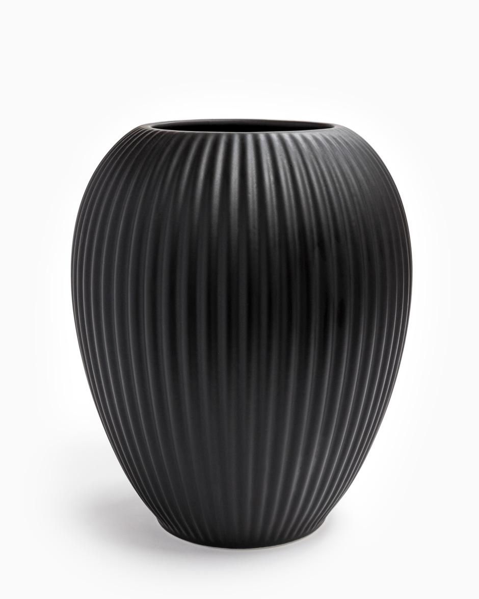 Sort 23 CM Michael Andersen Keramik Riflet Vase Model 4767 i Stentøj