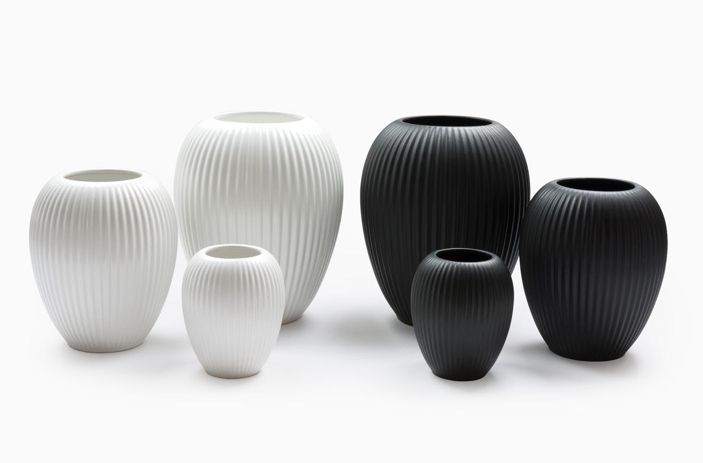 Michael Andersen Keramik Vaser 4767 3 Sorte og 3 Hvide