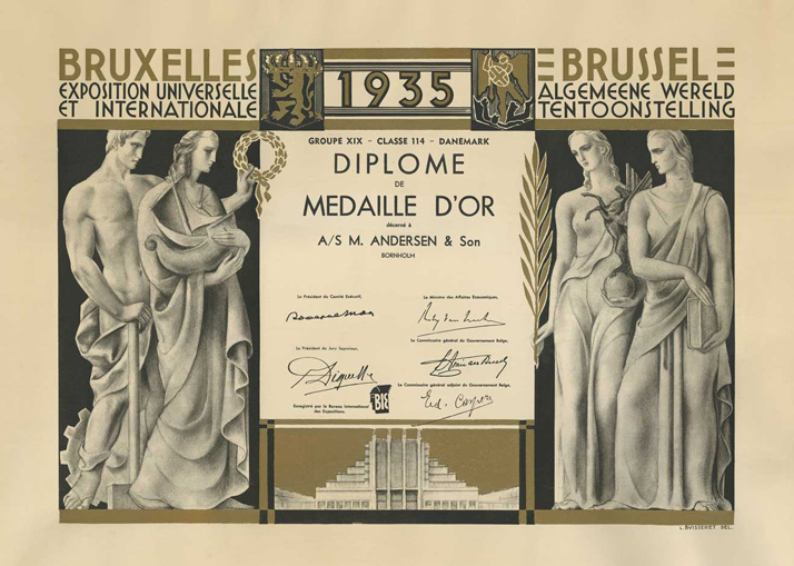 Michael Andersen Gold Medal 1938 Brussels World Exposition Certificate