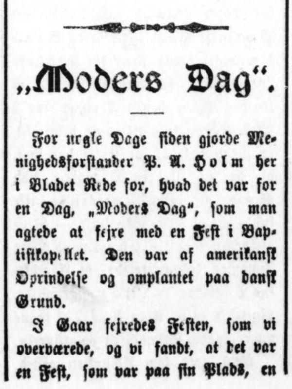 Første Mors Dag i Danmark Moders Dag Overskrift Bornholms Tidende 1910