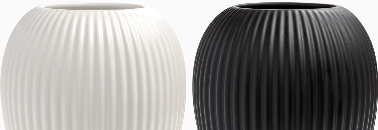 Michael Andersen Keramik Vase 4767 Rifler Hvid og Sort Top